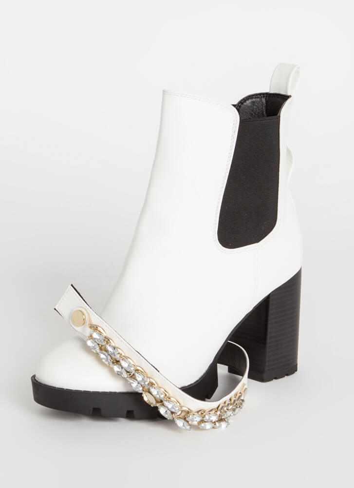 In The Mood Jewel Strap Chelsea Booties WHITE