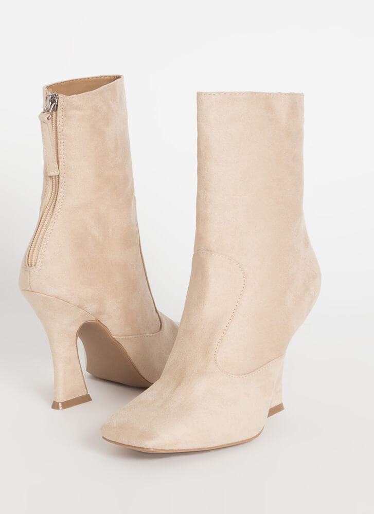 Give 'Em Sass Faux Suede Booties NATURAL