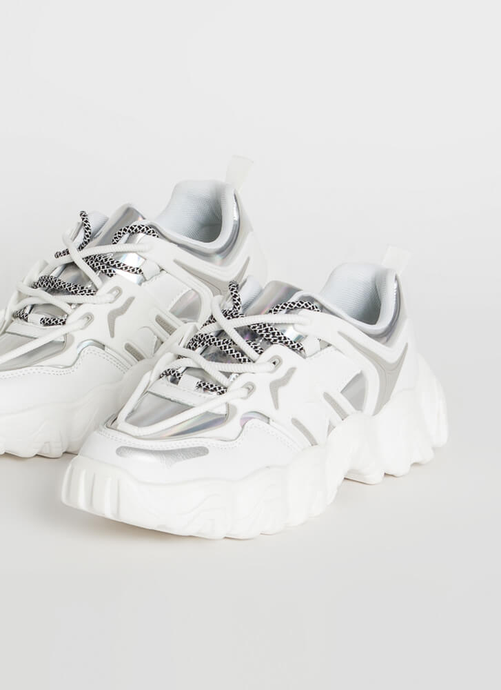 Kicks Double-Laced Holographic Sneakers WHITE