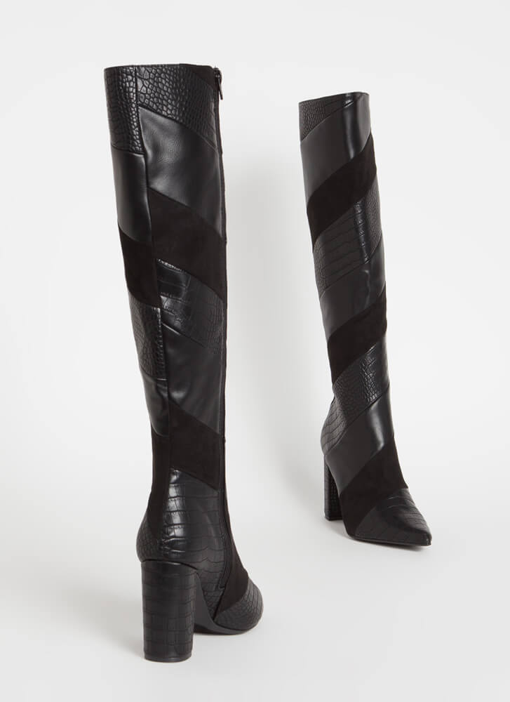 Strip Search Pointy Faux Crocodile Boots BLACK