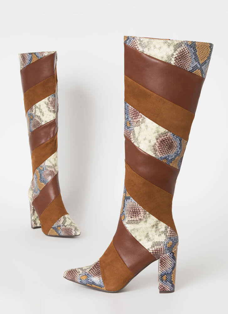 Strip Search Pointy Snake Print Boots CAMEL