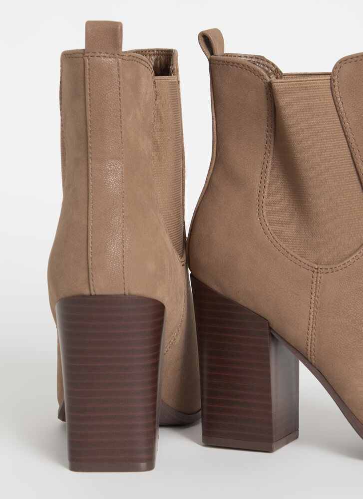 Chelsea Lovely Faux Nubuck Booties TAUPE