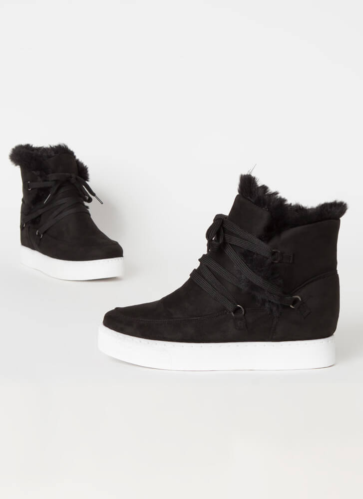 All Fur Me Faux Suede Wedge Sneakers BLACK