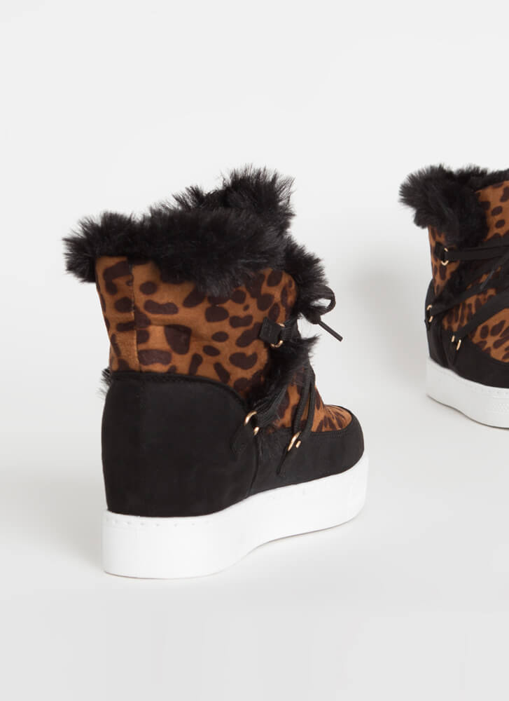 All Fur Me Faux Suede Wedge Sneakers LEOPARD
