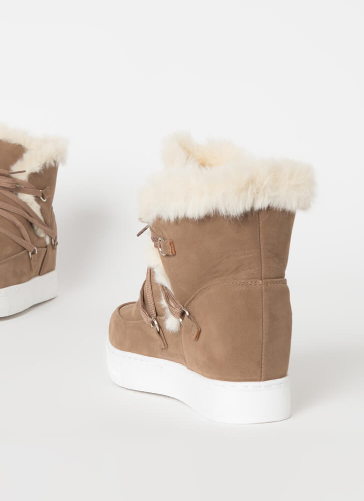 All Fur Me Faux Nubuck Wedge Sneakers TAUPE