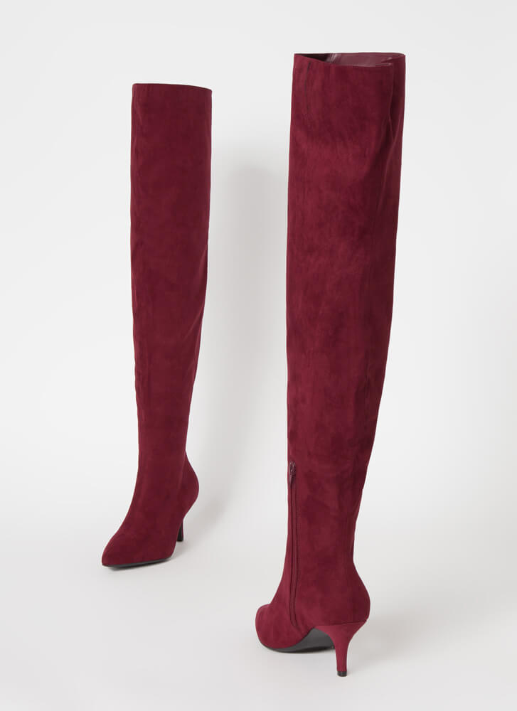 The Lowdown Pointy Short-Heeled Boots BURGUNDY