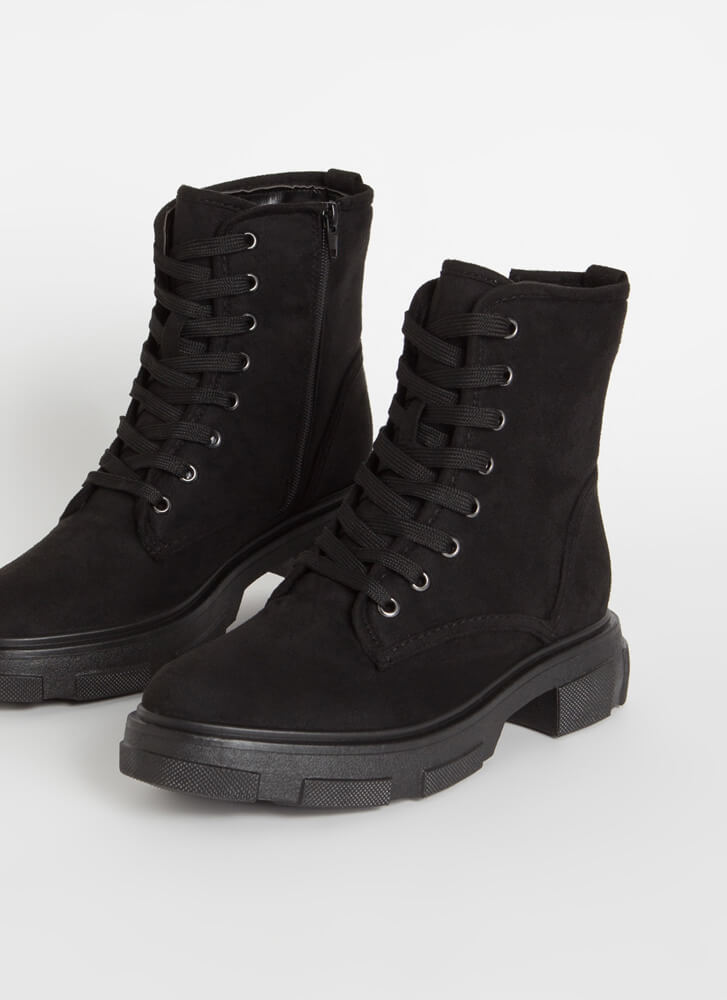 Combat Mode Faux Suede Lace-Up Boots BLACK