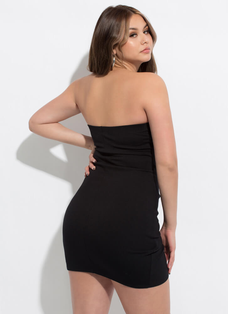 The Queen Of Wrap Strapless Minidress BLACK