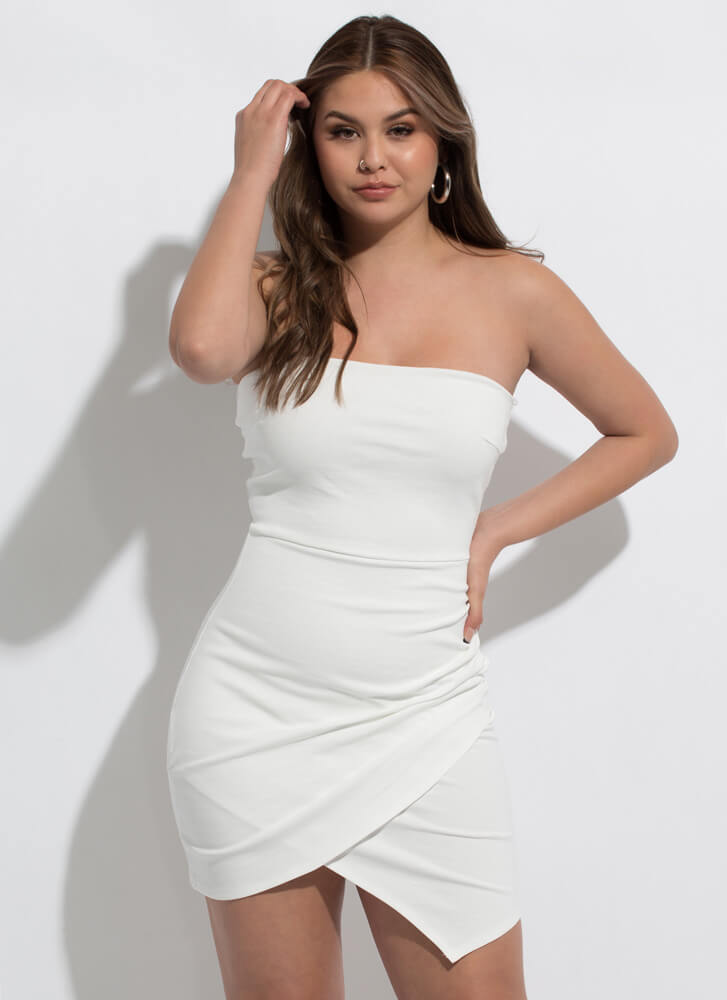 The Queen Of Wrap Strapless Minidress IVORY