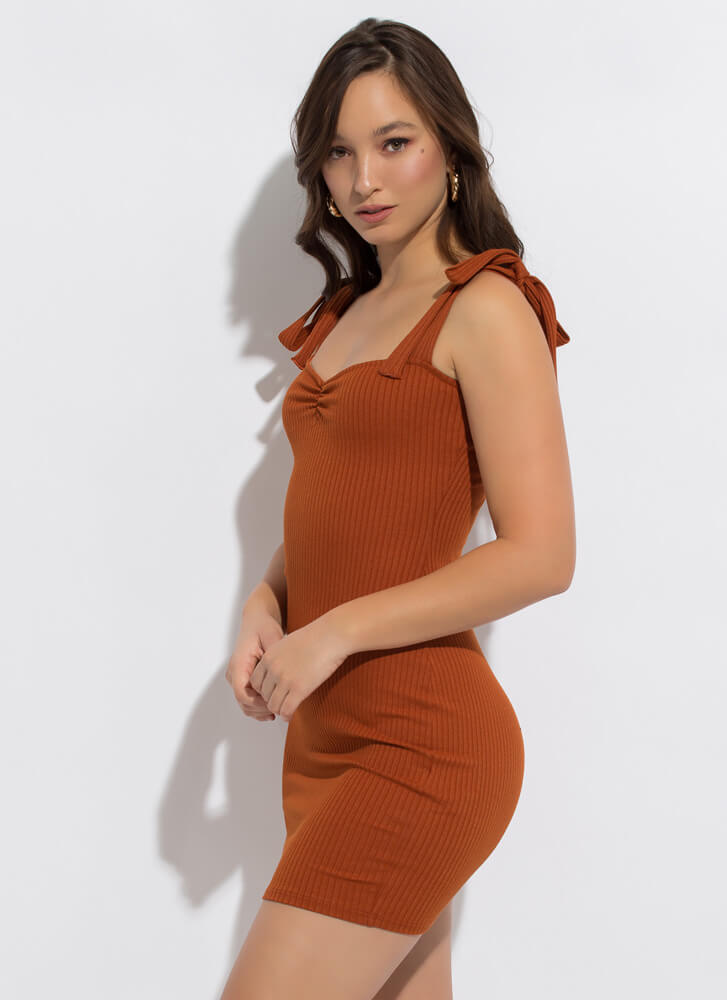 Sweetie Ribbed Tied Strap Minidress COGNAC