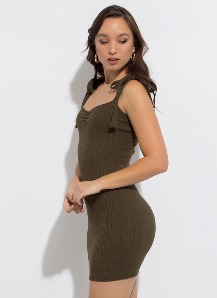 Sweetie Ribbed Tied Strap Minidress OLIVE