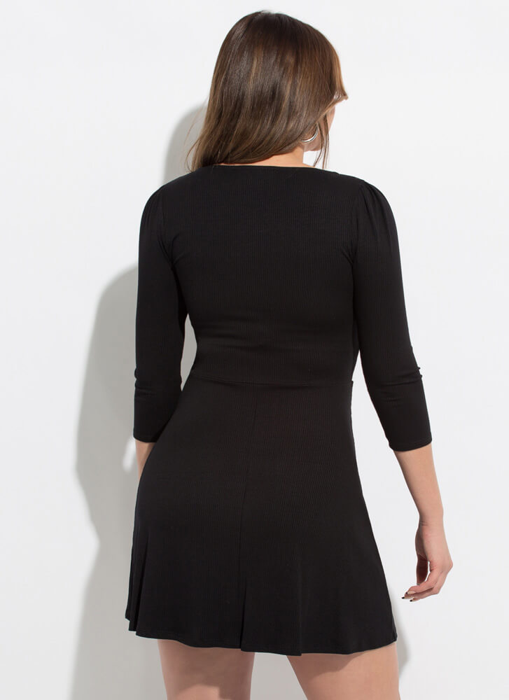 Bow-So-Cute Ribbed Fit-And-Flare Dress BLACK