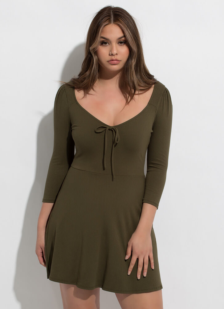 Bow-So-Cute Ribbed Fit-And-Flare Dress OLIVE