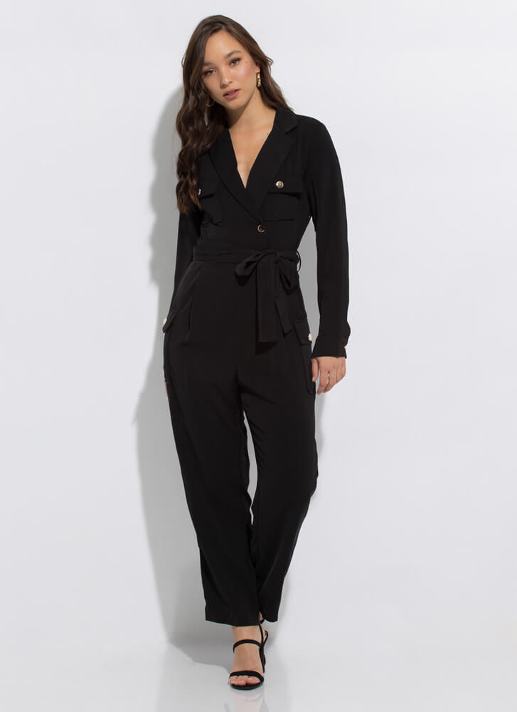 I Know What I Want Tied Cargo Jumpsuit BLACK