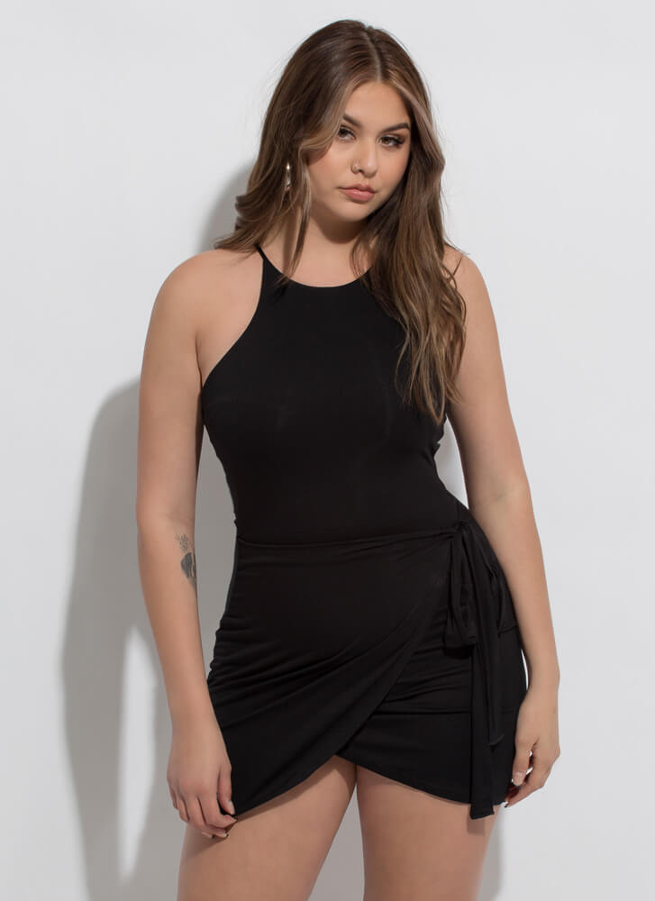 Sarong It's Right Tied Wrapped Minidress BLACK