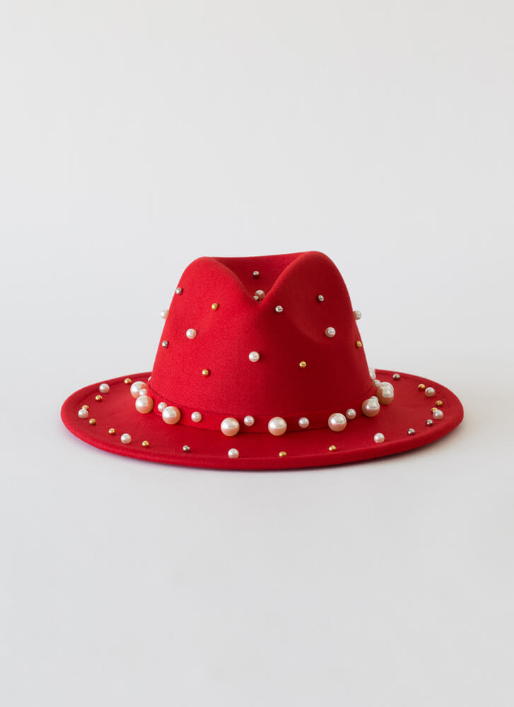I Embellish Beaded Faux Pearl Fedora RED