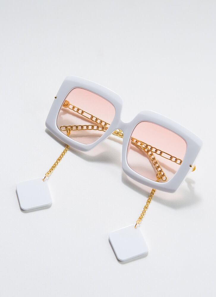 Tile Me A Story Chain Accent Sunglasses WHITE