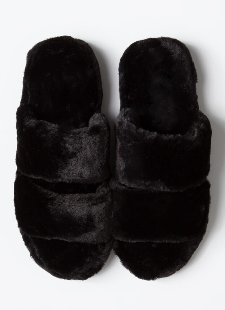 Soft Aesthetic Faux Fur Slide Sandals BLACK