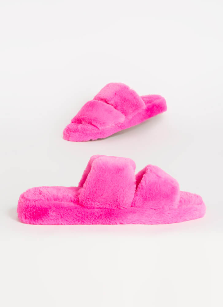 Soft Aesthetic Faux Fur Slide Sandals HOTPINK