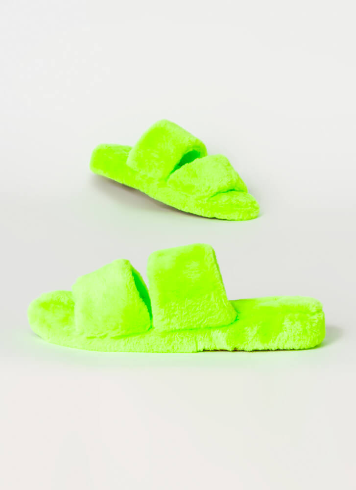 Soft Aesthetic Faux Fur Slide Sandals NEONGREEN