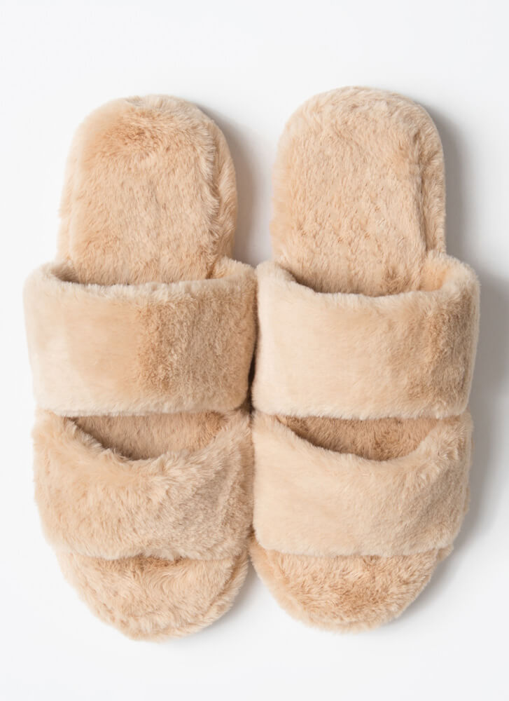Soft Aesthetic Faux Fur Slide Sandals TAUPE
