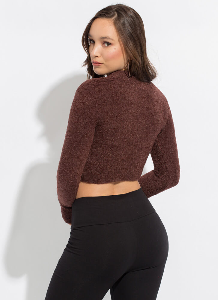Snug As A Bug Cropped Fuzzy Knit Sweater BROWN