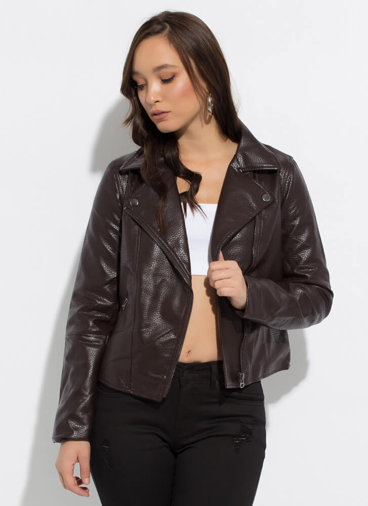 Too Cool Faux Leather Moto Jacket TOFFEE