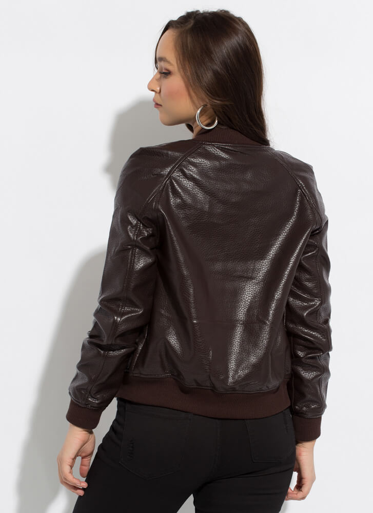 Too Cool Faux Leather Bomber Jacket  TOFFEE