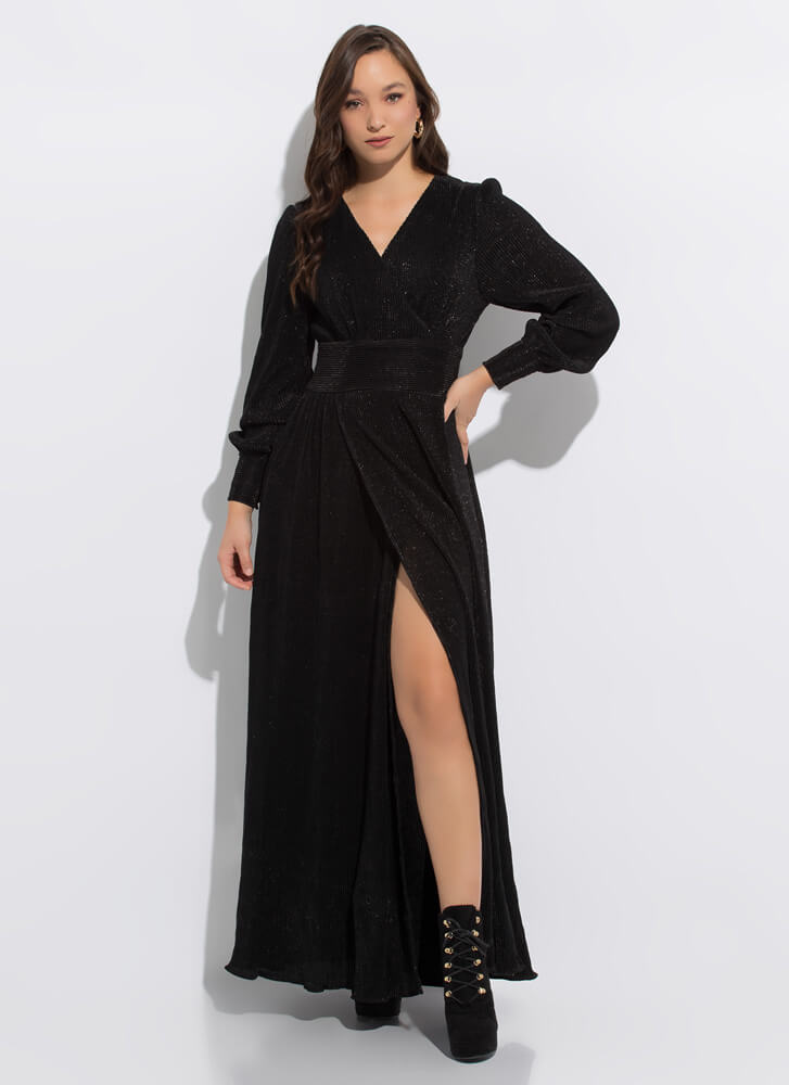 Guest Of Honor Pleated Slit-Front Gown BLACK
