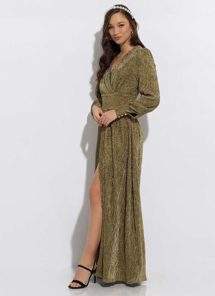 Guest Of Honor Pleated Slit-Front Gown GOLD