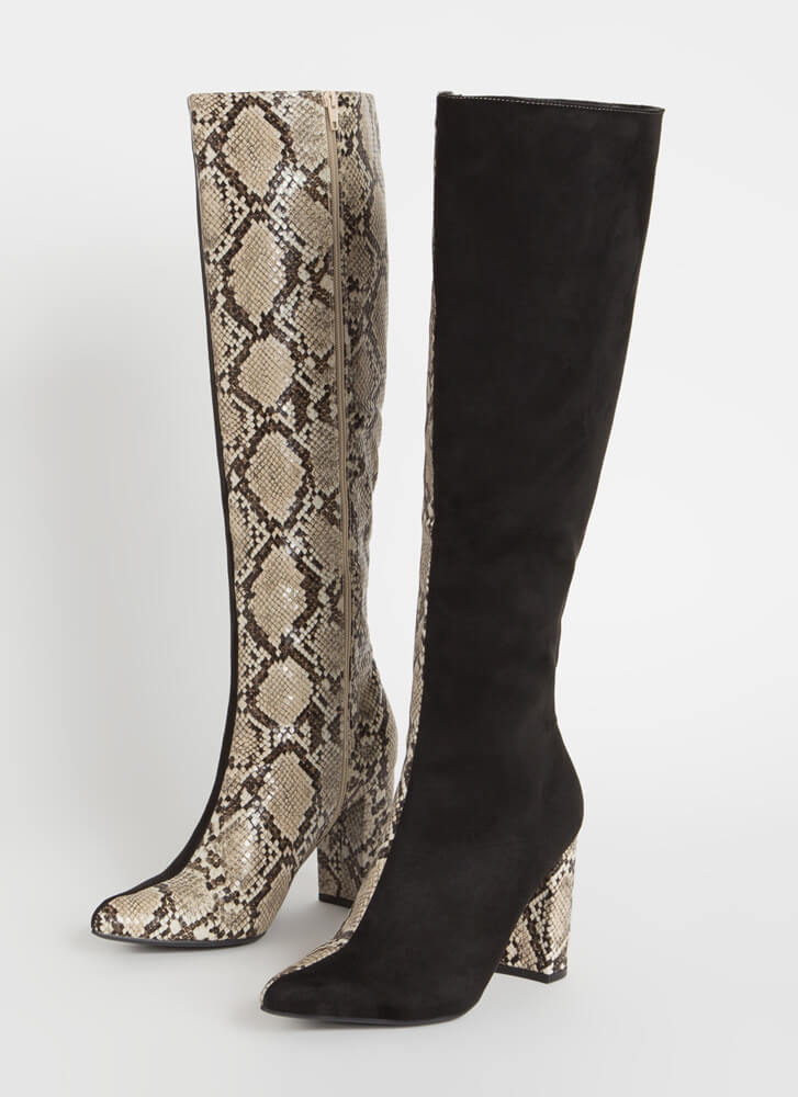 Better Half Faux Snake Colorblock Boots BEIGE