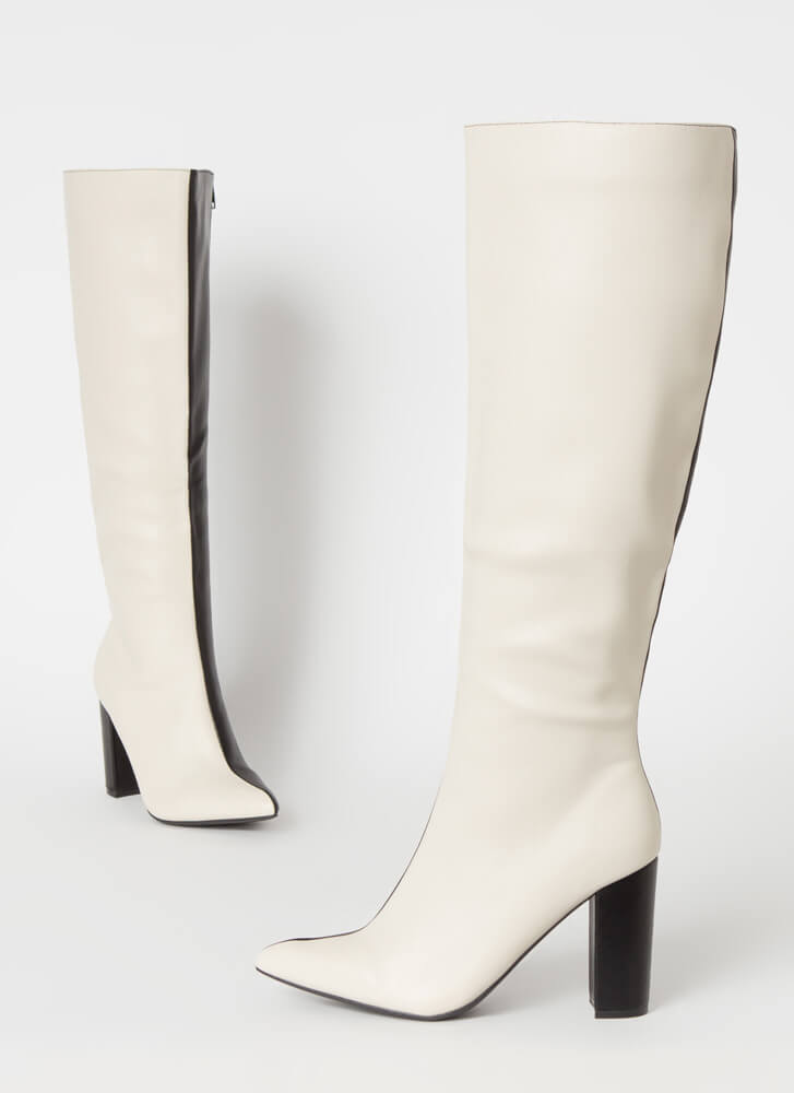 Better Half Knee-High Colorblock Boots IVORY