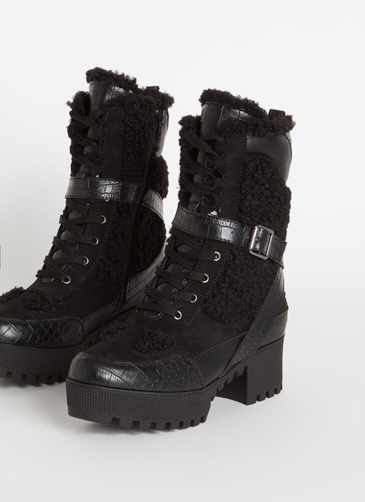 Prey Faux Crocodile Shearling Boots BLACK