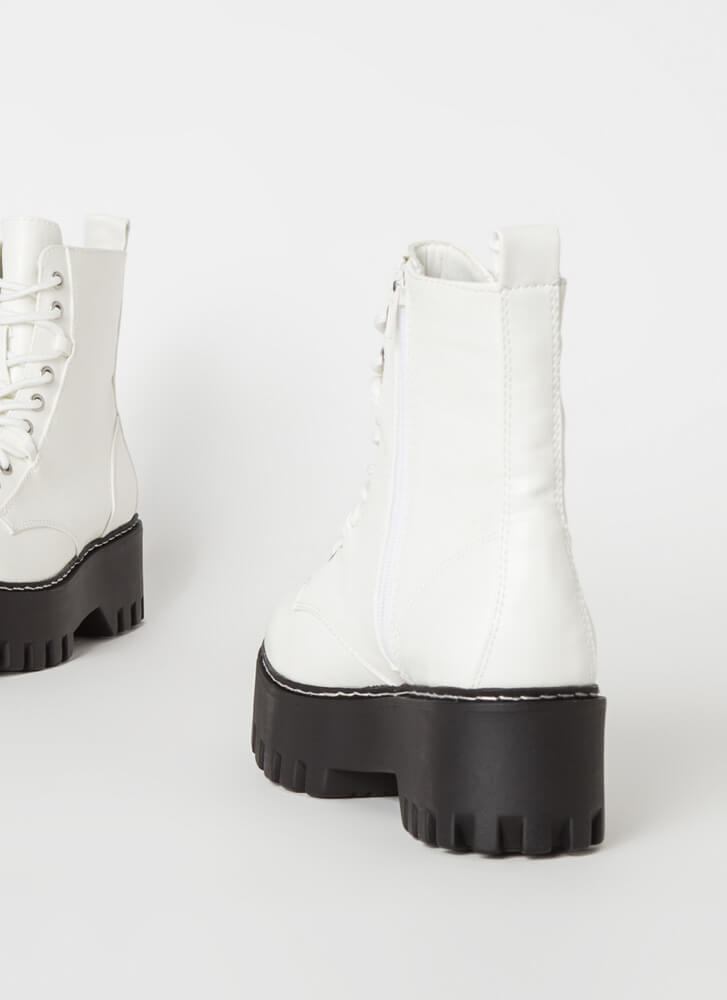Go Hard Faux Leather Combat Boots WHITE
