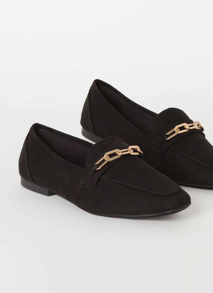 Business Or Pleasure Chain Strap Loafers BLACK