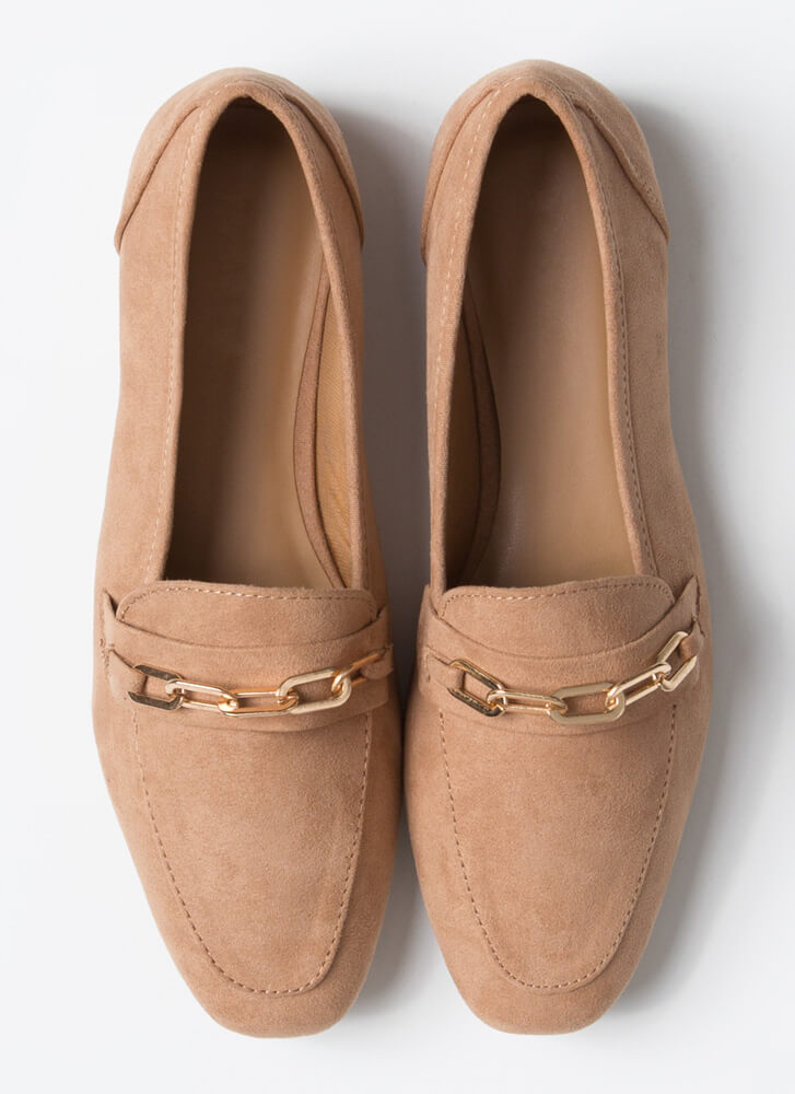 Business Or Pleasure Chain Strap Loafers CAMEL