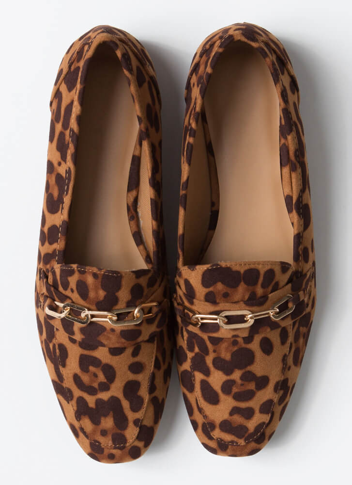 Business Or Pleasure Chain Strap Loafers LEOPARD