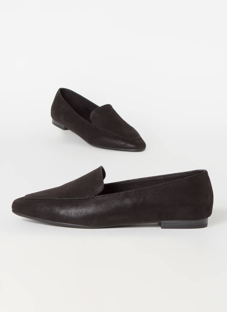 Purist Faux Nubuck Smoking Flats BLACK