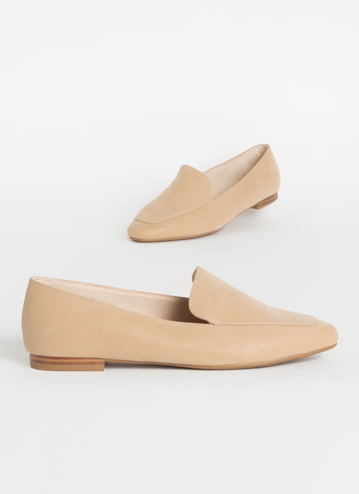 Purist Faux Nubuck Smoking Flats NUDE