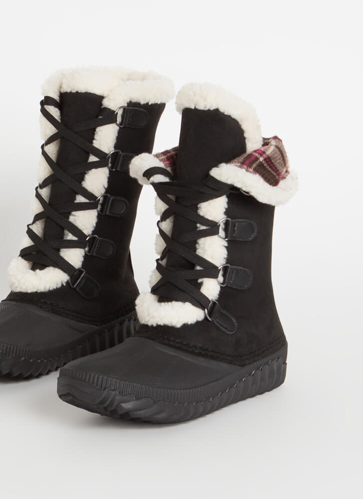 Hygge Plaid And Shearling Lace-Up Boots BLACK