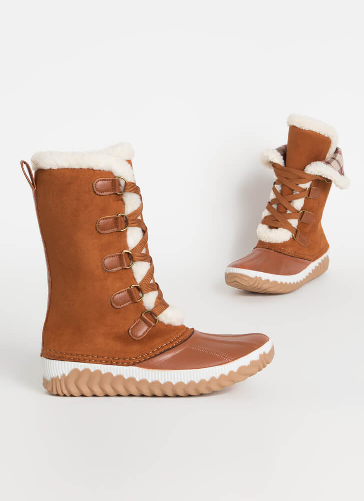 Hygge Plaid And Shearling Lace-Up Boots CHESTNUT
