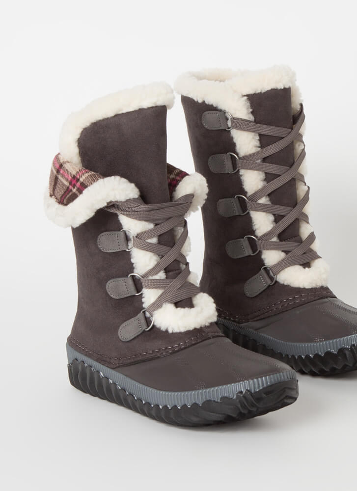 Hygge Plaid And Shearling Lace-Up Boots DKGREY