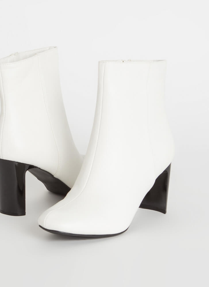 Heel Touch Vegan Leather Booties WHITE
