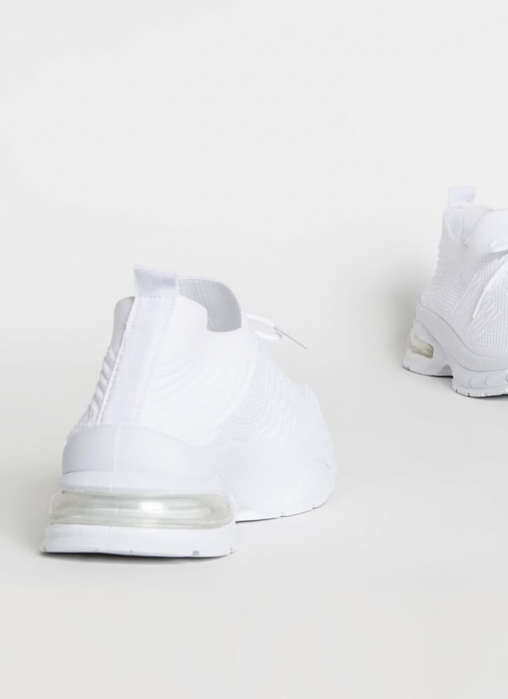 Gotta Run Knit Laced Slip-On Sneakers WHITE