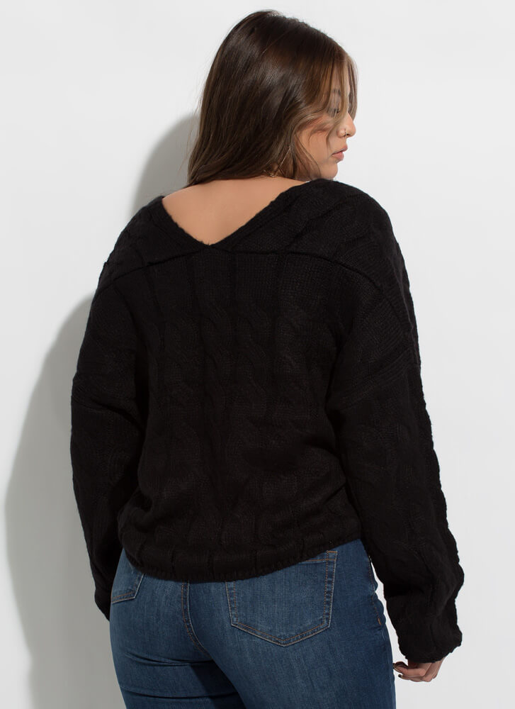 Nice And Warm Cable Knit Sweater BLACK