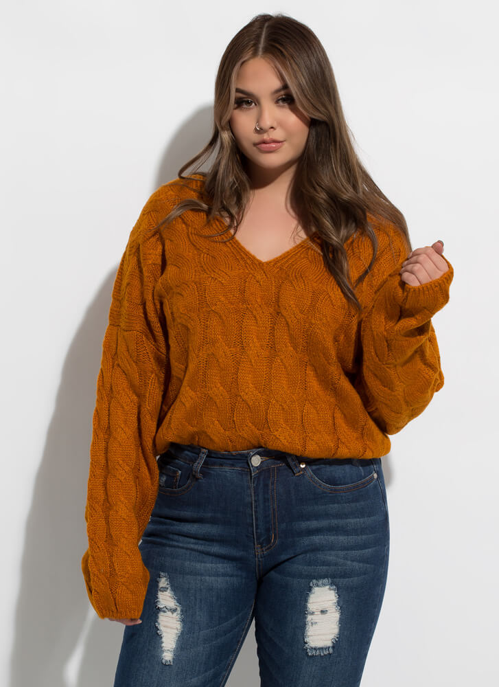 Nice And Warm Cable Knit Sweater CINNAMON