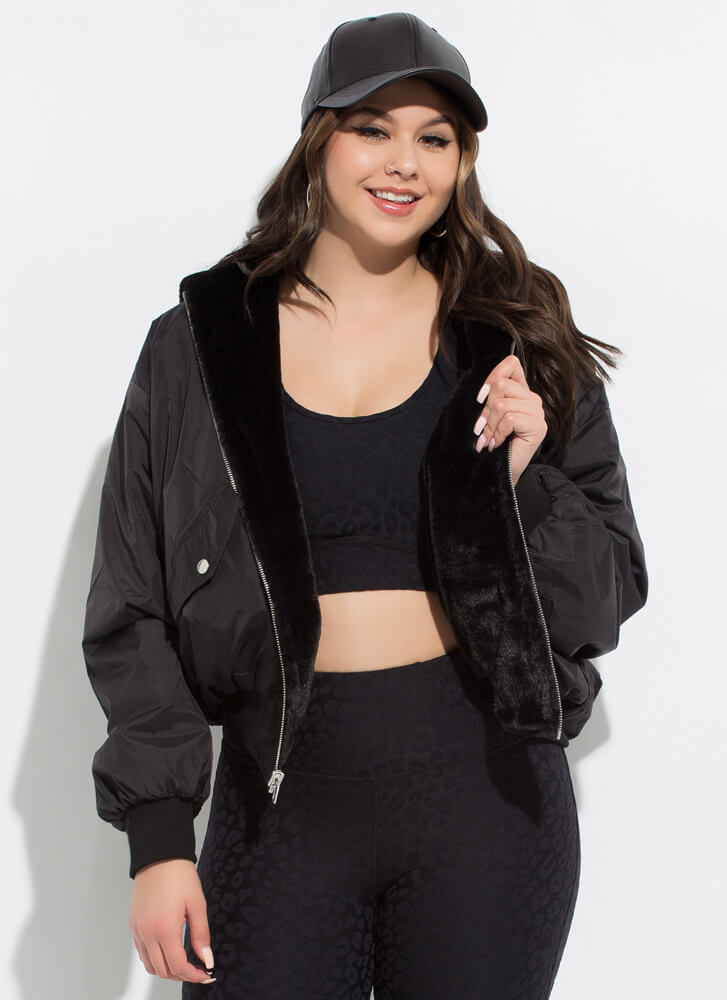 Fur You To Pick Reversible Hooded Jacket BLACK