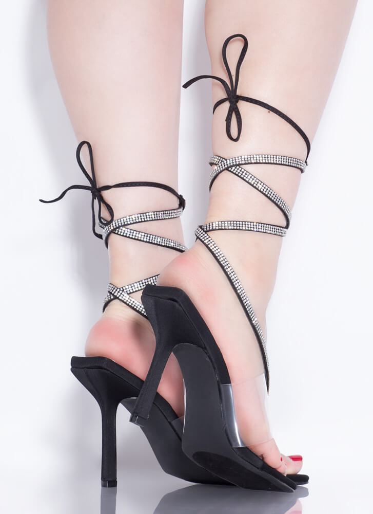 Thong Song Clear Jeweled Lace-Up Heels BLACK
