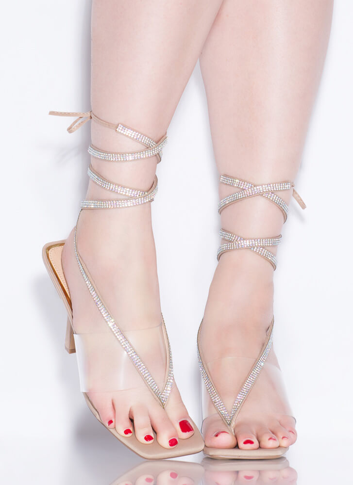Thong Song Clear Jeweled Lace-Up Heels NUDE
