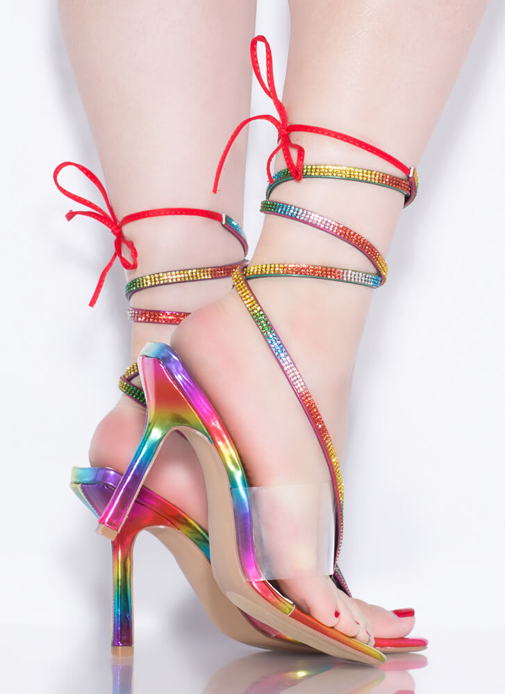 Thong Song Clear Jeweled Lace-Up Heels RAINBOW